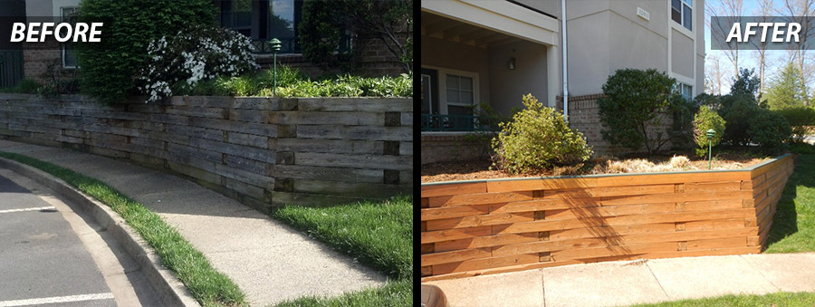Retaining Wall Powerwashing - Before & After- Commercial power washing services in Wasington DC Metro Area